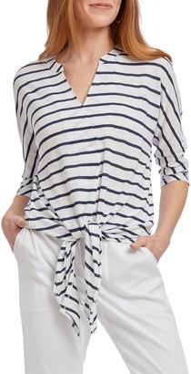 Nic+Zoe Seaside Resort 3/4-Sleeve Tie-Front Linen Top