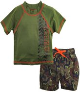 Big Chill Little Boys Camo Trucks 2 Piece Rash Guard Swim Trunk Set UPF0