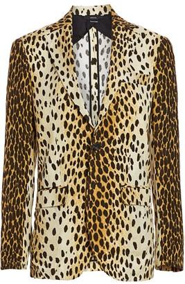R 13 Leopard Print Boyfriend Blazer