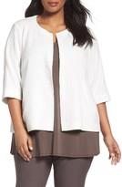 Eileen Fisher Plus Size Women's Organic Cotton Blend Round Neck Jacket