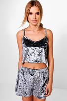 Boohoo Eliza Velvet Cami And High Waist Short PJ Set