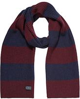 Gant Lambswool Cotton Bar Stripe Scarf, Purple Fig