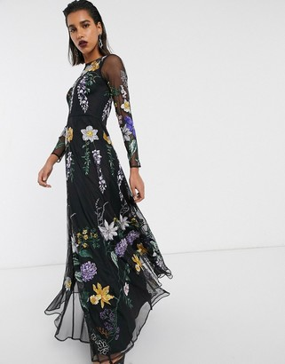 Asos Edition EDITION wisteria embroidered maxi dress-Green