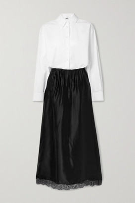 MM6 MAISON MARGIELA Two-tone Lace-trimmed Satin And Cotton-poplin Midi Shirt Dress - Black