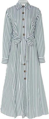 Evi Grintela Valerie Belted Striped Cotton-Poplin Midi Dress