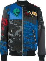 Diesel multi print bomber jacket