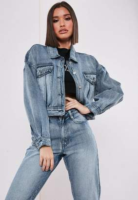Missguided Blue Co Ord Cropped Denim Jacket