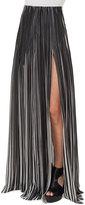 Akris Striped Plissé; Silk Maxi Skirt, Black/Blanco