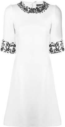 Dolce & Gabbana Sequin Trim Skater Dress