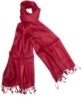 One Kings Lane Handmade Silk Herringbone Wrap, Red