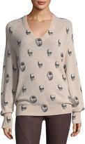 360 Sweater 360Sweater Riley V-Neck Skull-Print Cashmere Sweater
