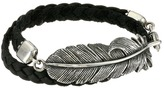 King Baby Studio Double Wrap Leather Bracelet with Raven Feather Bracelet