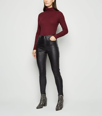 New Look Leather-Look Double Zip Super Skinny Jeans