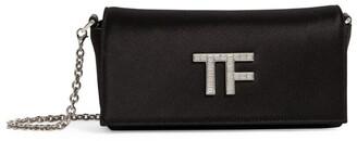 Tom Ford Satin Crystal-Logo Clutch Bag