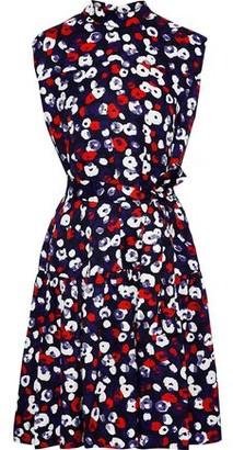Derek Lam Belted Floral-print Silk-jacquard Dress