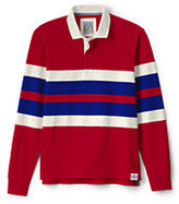 Lands' End Men's Long Sleeve Stripe Rugby Shirt-Light Navy