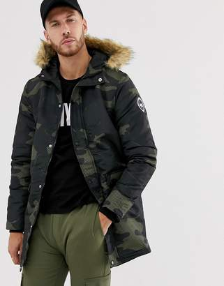 Hype camo parka jacket with faux fur trim hood-Green