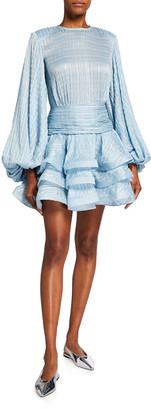 Bronx and Banco Cleo Puff-Sleeve Mini Ruffle Dress