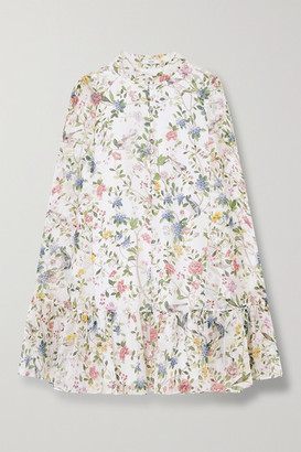 Erdem Constantine Cape-effect Floral-print Silk-voile Mini Dress - White
