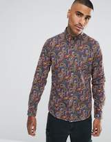 Pretty Green Long Sleeve Aop Paisley Shirt In Multi