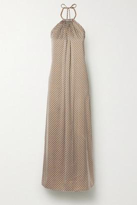 Jonathan Simkhai Open-back Printed Satin Halterneck Maxi Dress - White