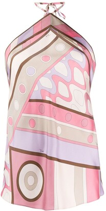 Emilio Pucci Abstract Print Halter Neck Top