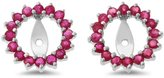 Rendez Vous Jewelry 0.83CTW 14K White Gold Genuine Natural Ruby Round Shaped Earrings Jacket