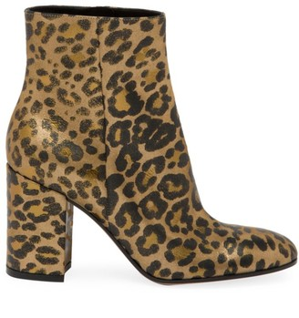 Gianvito Rossi Leopard-Print Leather Ankle Boots