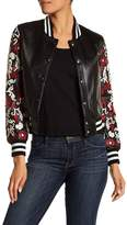 Doma Flora Applique Lamb Nappa Leather Bomber Jacket