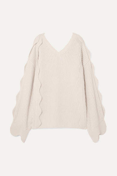 Stella McCartney Oversized Scalloped Ribbed Cotton And Wool-blend Sweater - Ivory