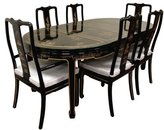 Oriental Furniture Fine Asian Style 82-Inch Ming Lacquer Dining Table Set with Hand Painted Landscape Design