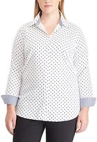 Chaps Women's Button Down Shirts PEARL/CAPRI - Pear & Navy Dot Button-Up - Plus