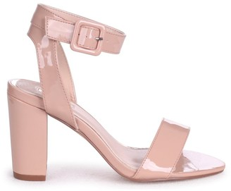 Linzi MILLIE - Nude Patent Open Toe Block Heel With Ankle Strap And Buckle Detail