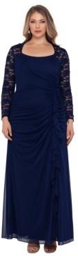 Xscape Evenings Plus Size Lace-Sleeve Gown
