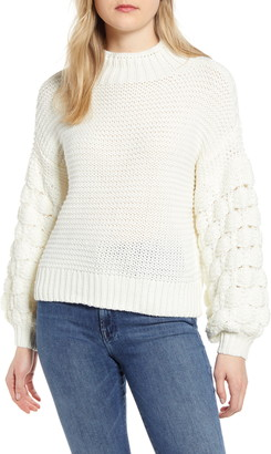 RD Style Bubble Sleeve Mock Neck Sweater
