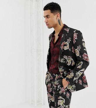 Heart N Dagger skinny suit jacket in metallic floral-Black