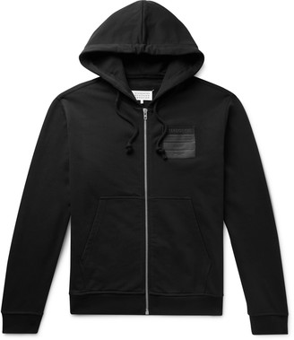 Maison Margiela Leather-Appliqued Organic Loopback Cotton-Jersey Zip-Up Hoodie