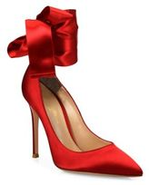 Gianvito Rossi Gala Satin Ankle-Wrap Point Toe Pumps