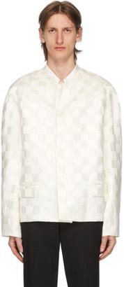 Haider Ackermann White Linen and Silk Checkered Jacket