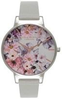 Olivia Burton Women's 'Enchanted Garden' Leather Strap Watch, 38Mm