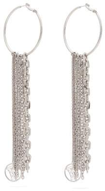 Burberry Tb Monogram And Chain-tasselled Hoop Earrings - Womens - Silver