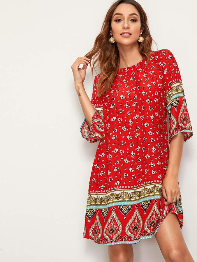 Shein Floral & Paisley Print Tunic Dress