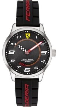 Ferrari Kid's Pitlane Black Silicone Strap Watch 34mm