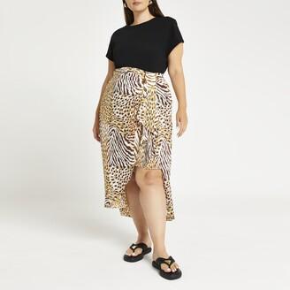 River Island Womens Plus Beige animal print tie front midi skirt