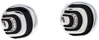 Damiani Damianissima Onyx Diamond Silver Stud Earrings