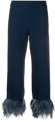 P.A.R.O.S.H. Feather Trimmed Cropped Trousers