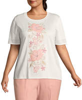 Alfred Dunner La Dolce Vita Floral Applique Sweater- Plus