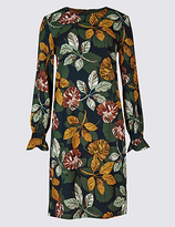 M&S Collection Leaf Print Flared Cuff Tunic Dress