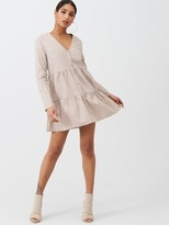 Missguided Nylon Button Through Smock Dress - Nude