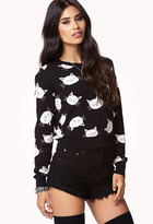 Forever 21 Cropped Cat Sweater